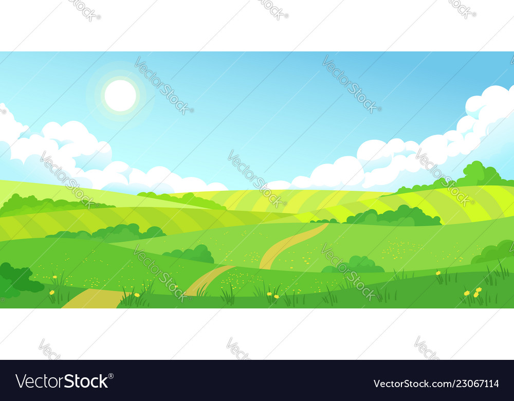 Colorful summer bright fields landscape green