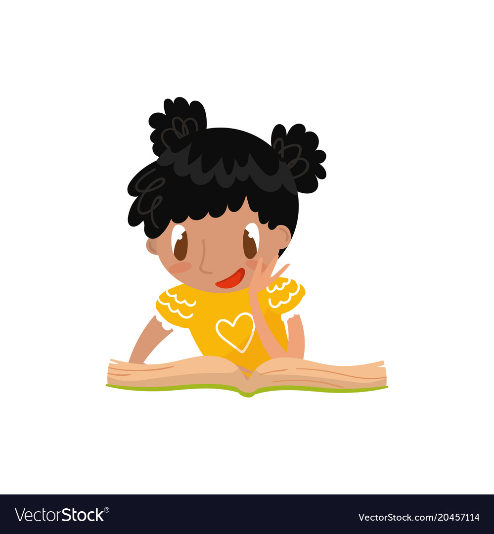 Cute little girl sitting on the floor and reading