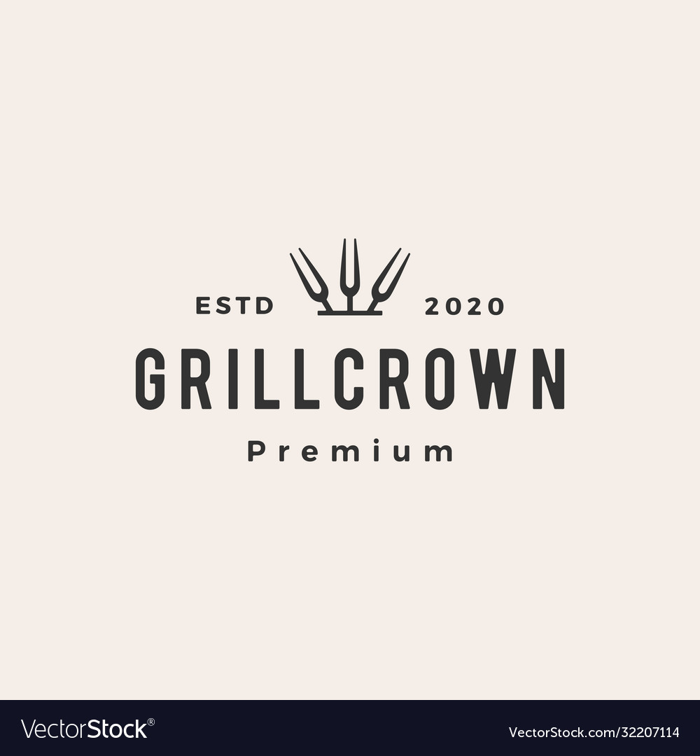 Grill crown king fork hipster vintage logo icon