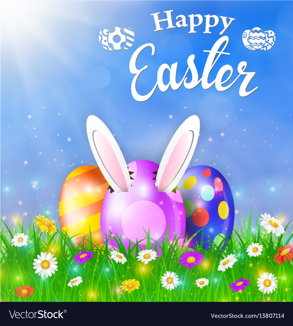 Happy easter card with eggs grass flowers