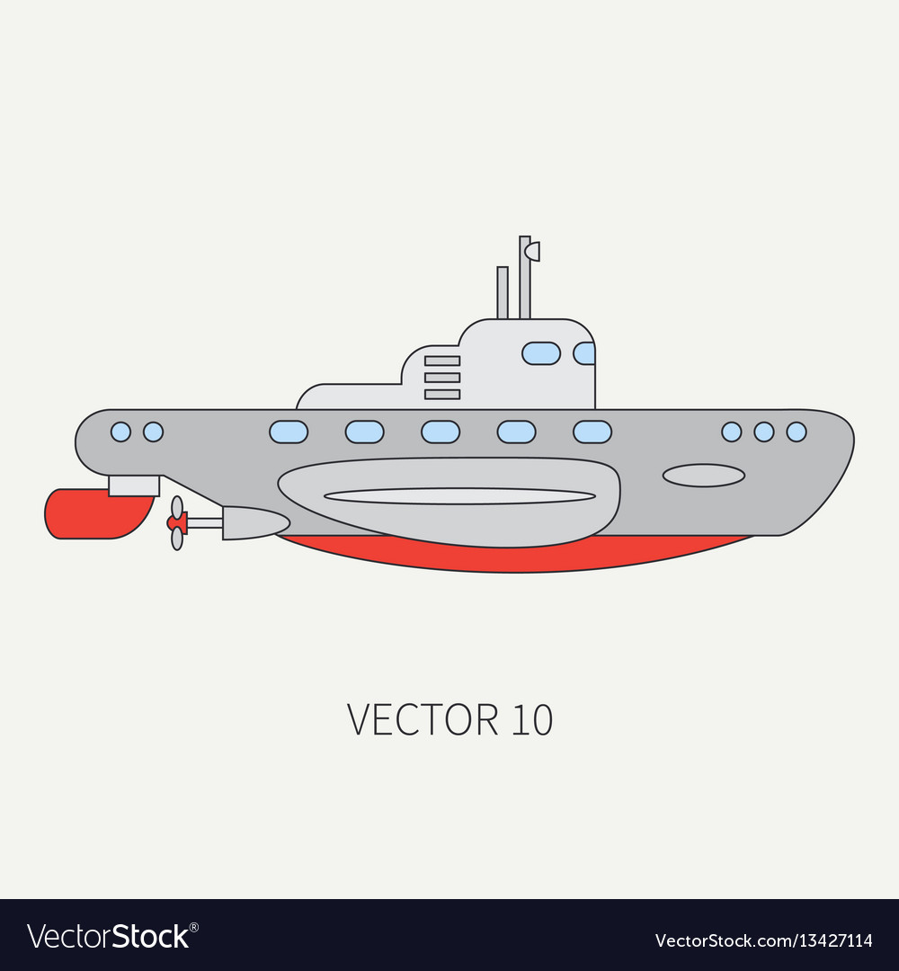 Line flat color icon naval submarine vector image