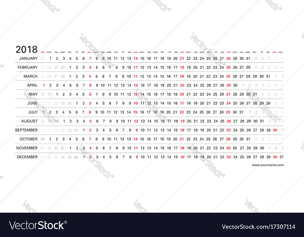Linear Calendar 2018 Clear Horizontal Design Vector Image