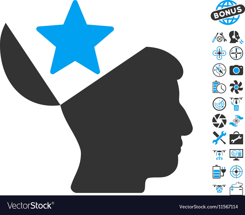Open Head Star Icon With Air Drone Tools Bonus vector image