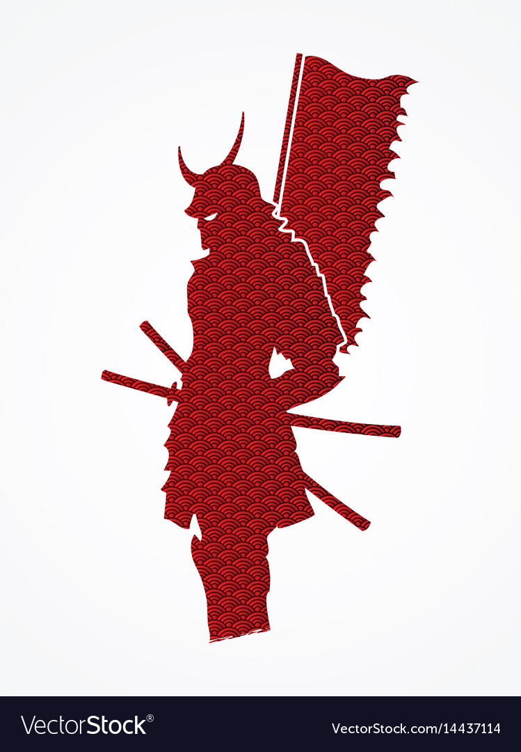 Samurai warrior standing with flag katana sword