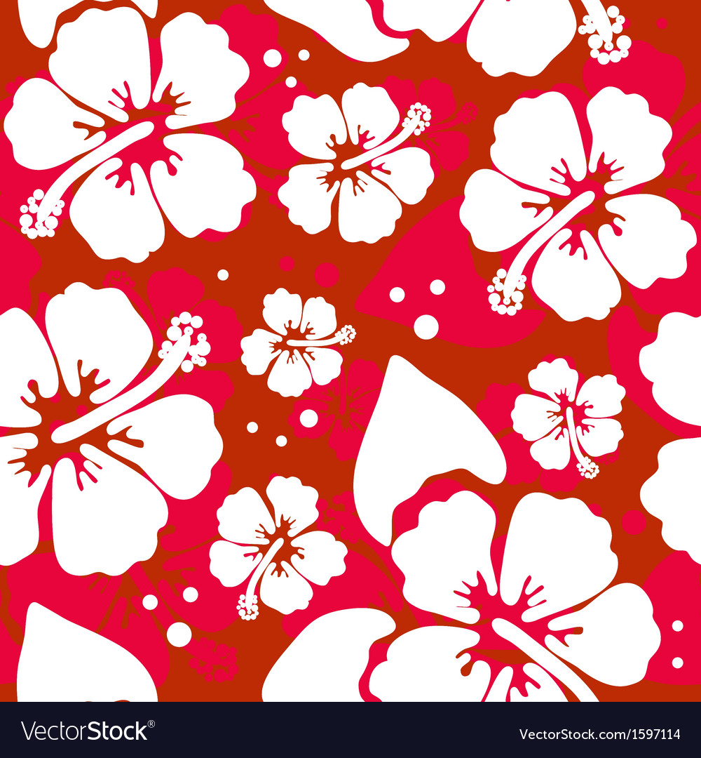 Seamless Pattern With Hawaiian Hibiscus Flower Vector Image
