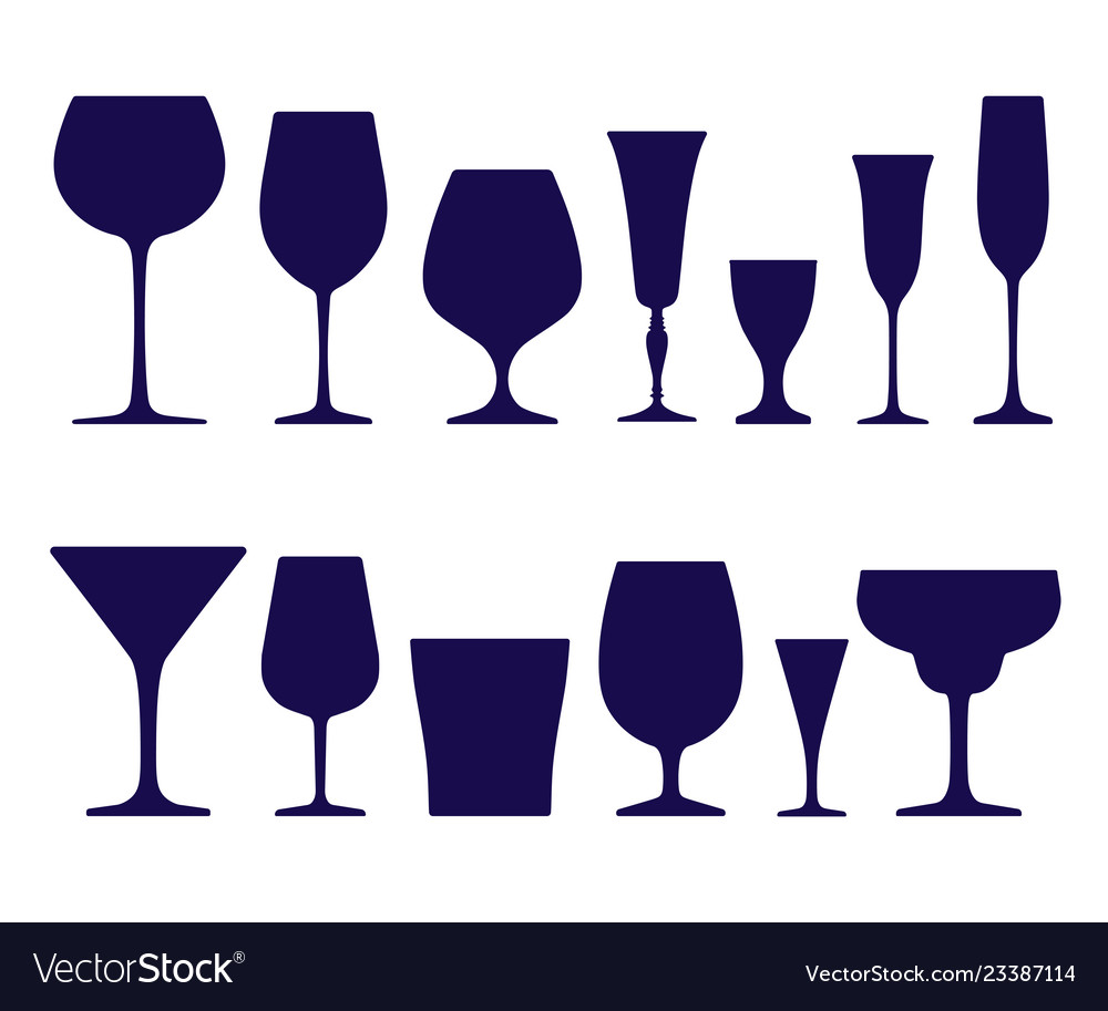 Set of wineglasses and glasses icons of dark blue