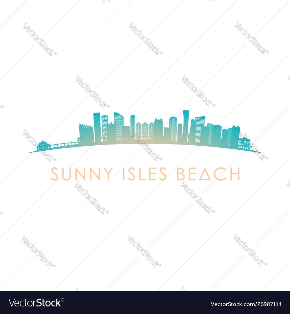 Sunny isles beach skyline silhouette design