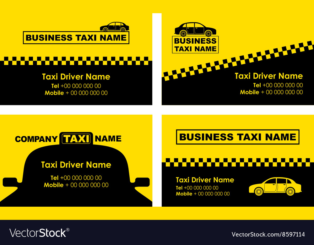 taxi business cards vector image - Taxi Business Cards