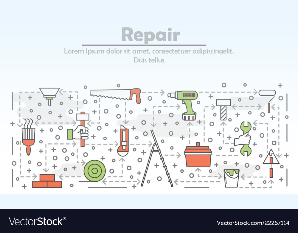 Thin line art repair poster banner template