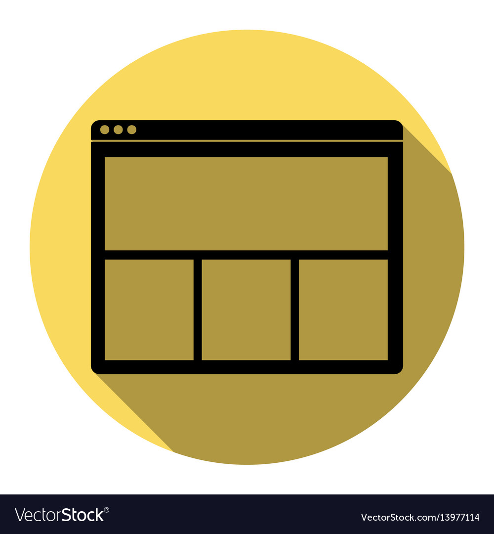 Web window sign flat black icon with flat