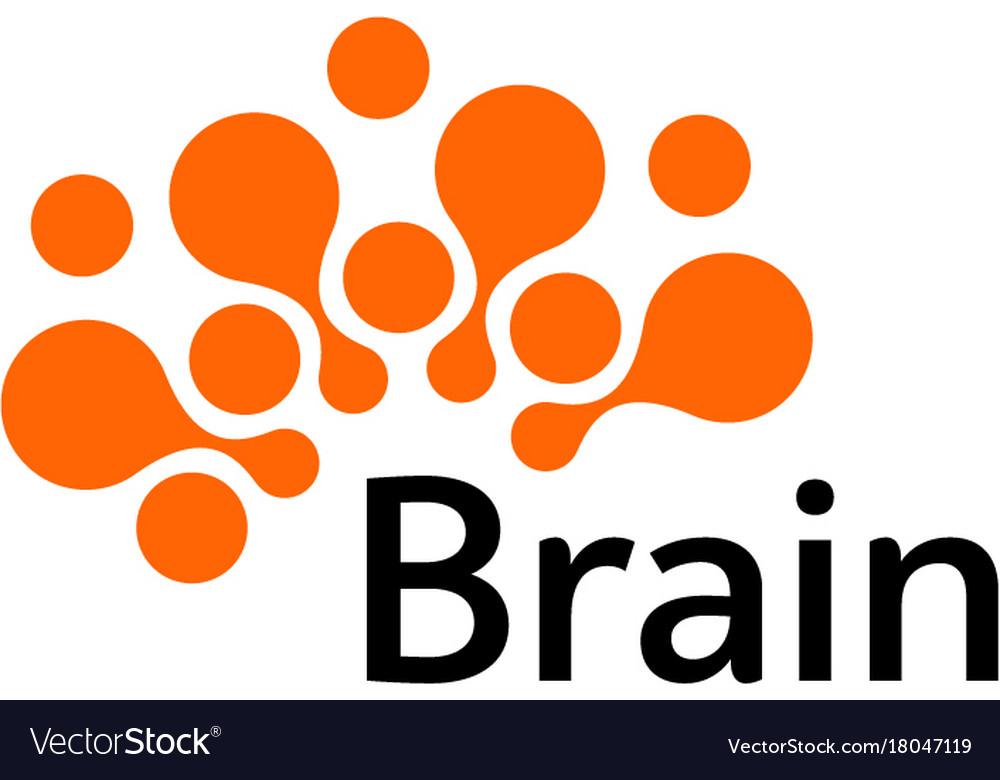 Brain logo silhouette design template