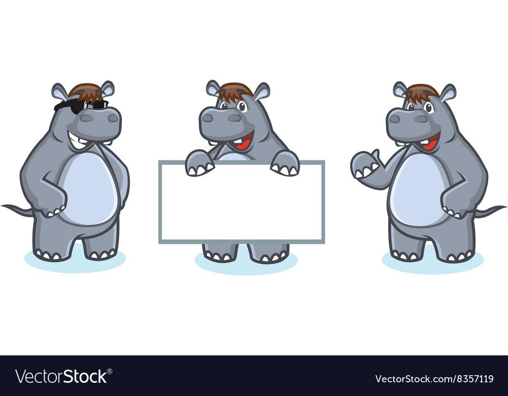 Gray Hippo Mascot happy vector image