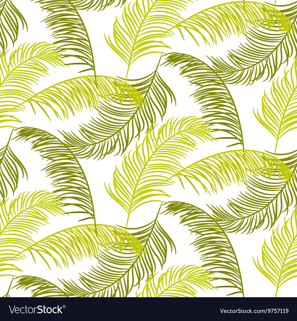 Green palm leaves seamless pattern