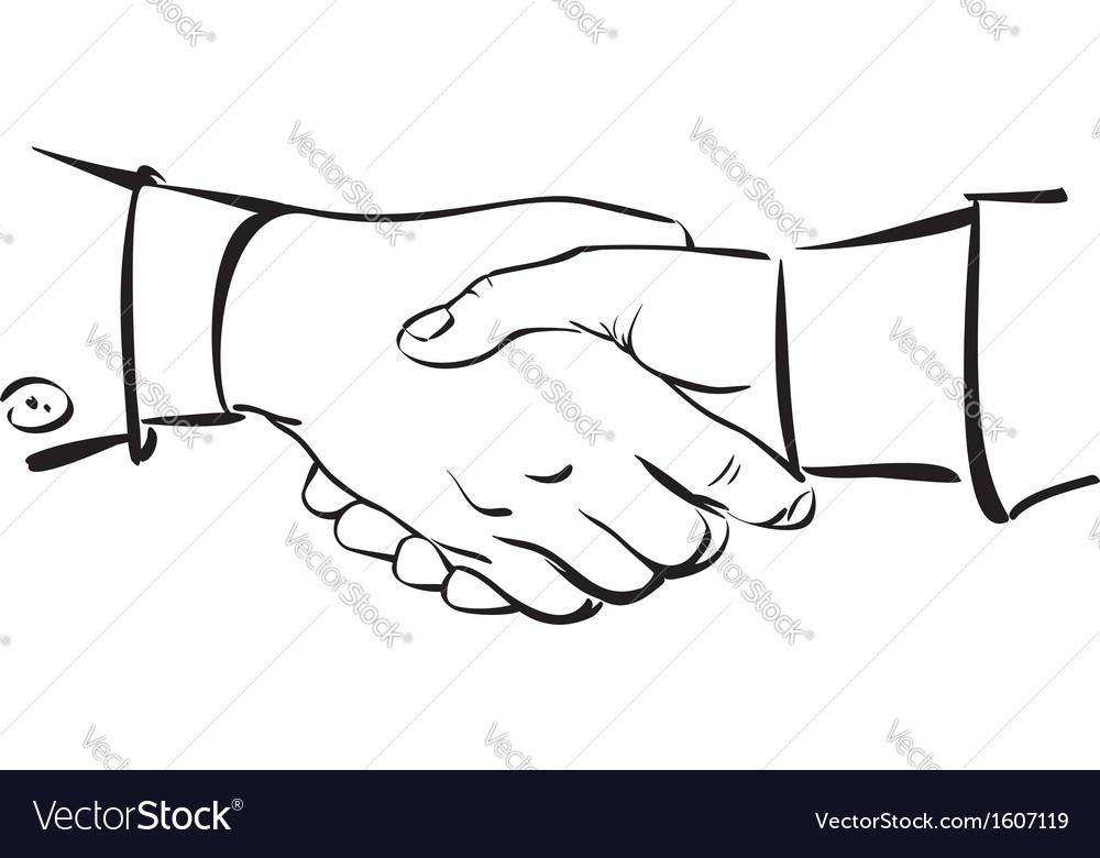 Handshake Hand drawn sketch vector image