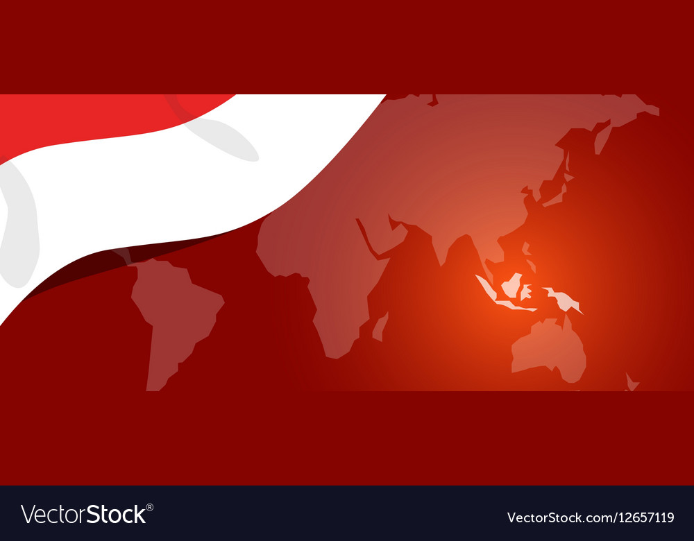 Indonesia map flag world red white location vector image gumiabroncs Gallery
