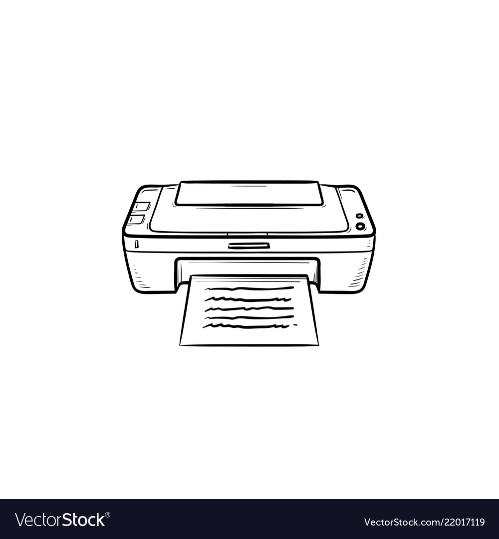 Office printer hand drawn outline doodle icon