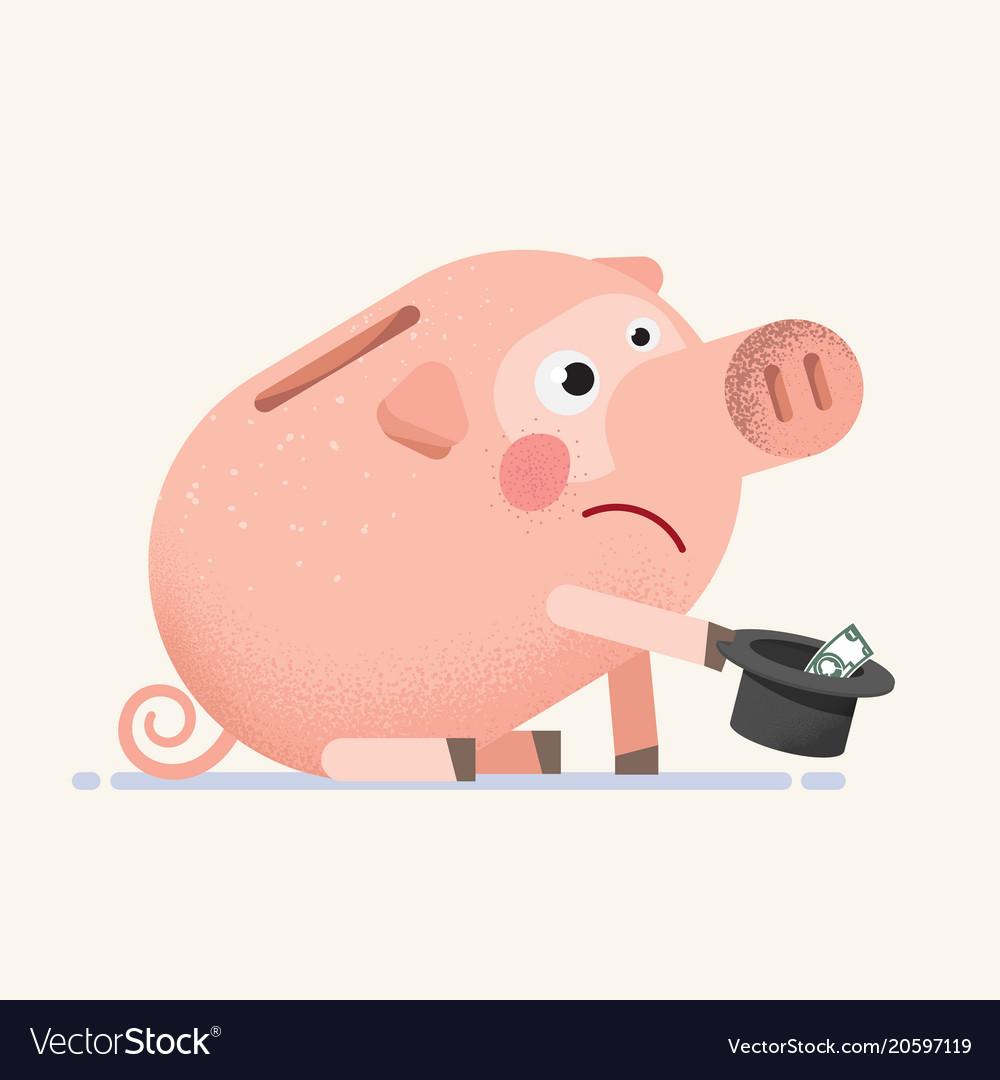 sad piggy bank vector images 47