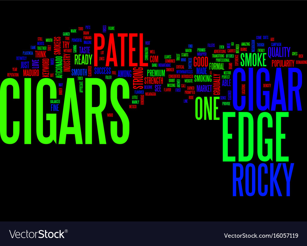 The edge cigars text background word cloud concept vector image