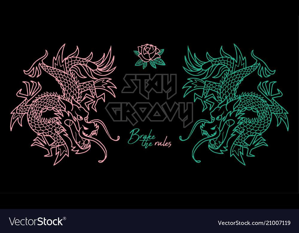 Trendy print with japan dragons