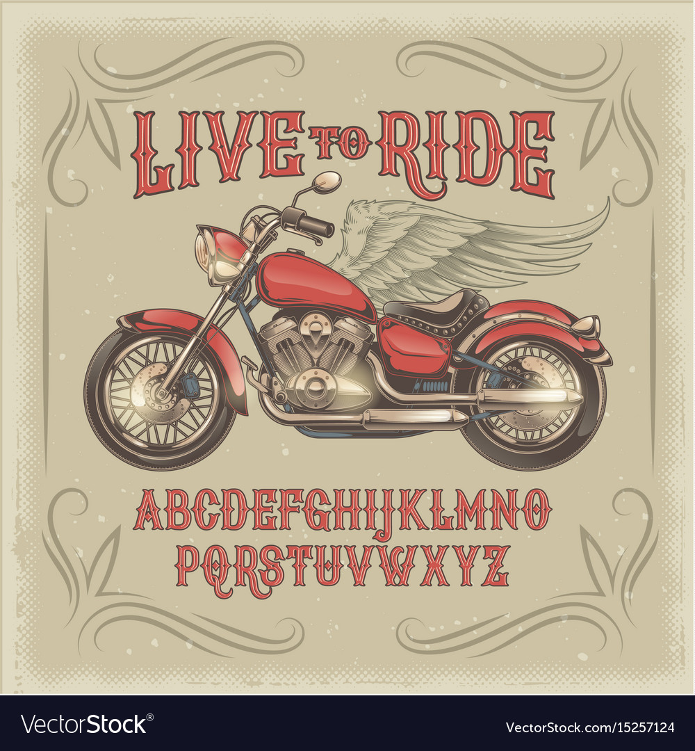 A red vintage font the