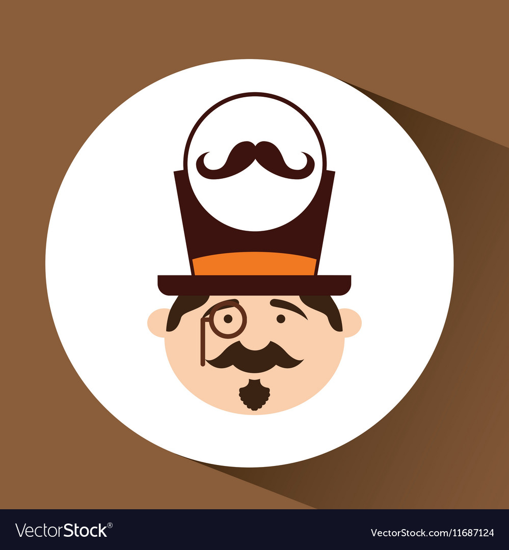 Character male hipster mustache