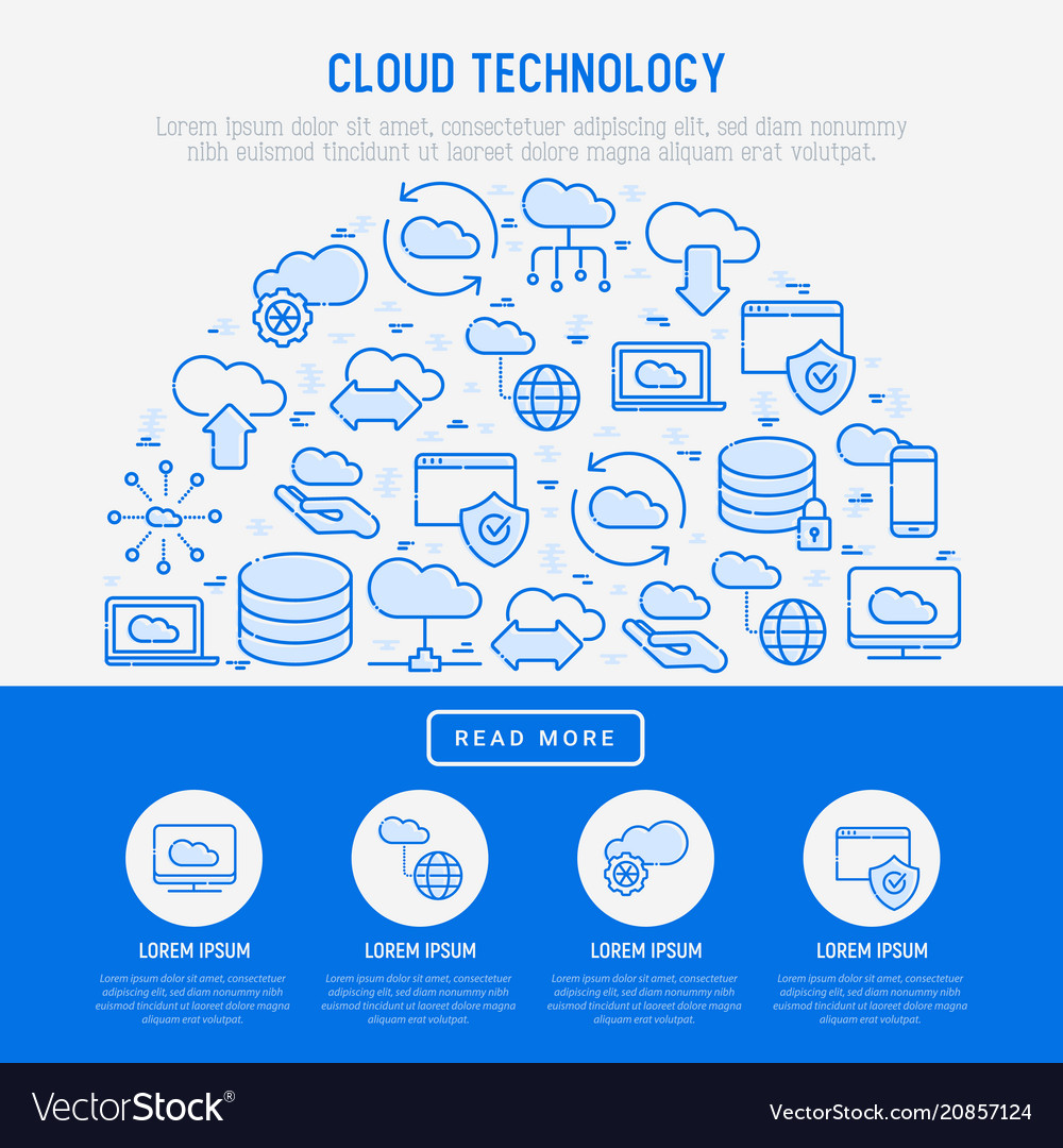 Cloud computing technology concept in half circle