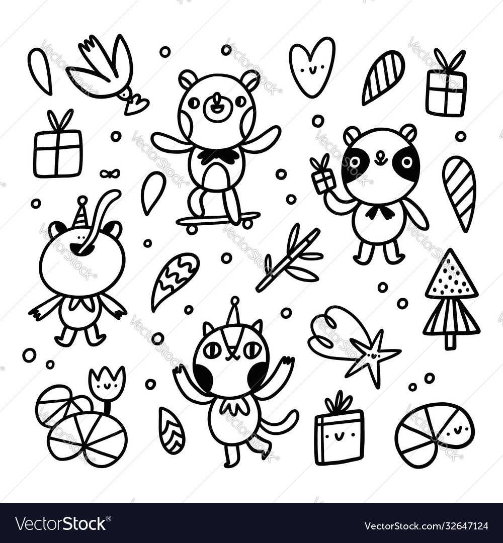 Cute doodle animal characters set