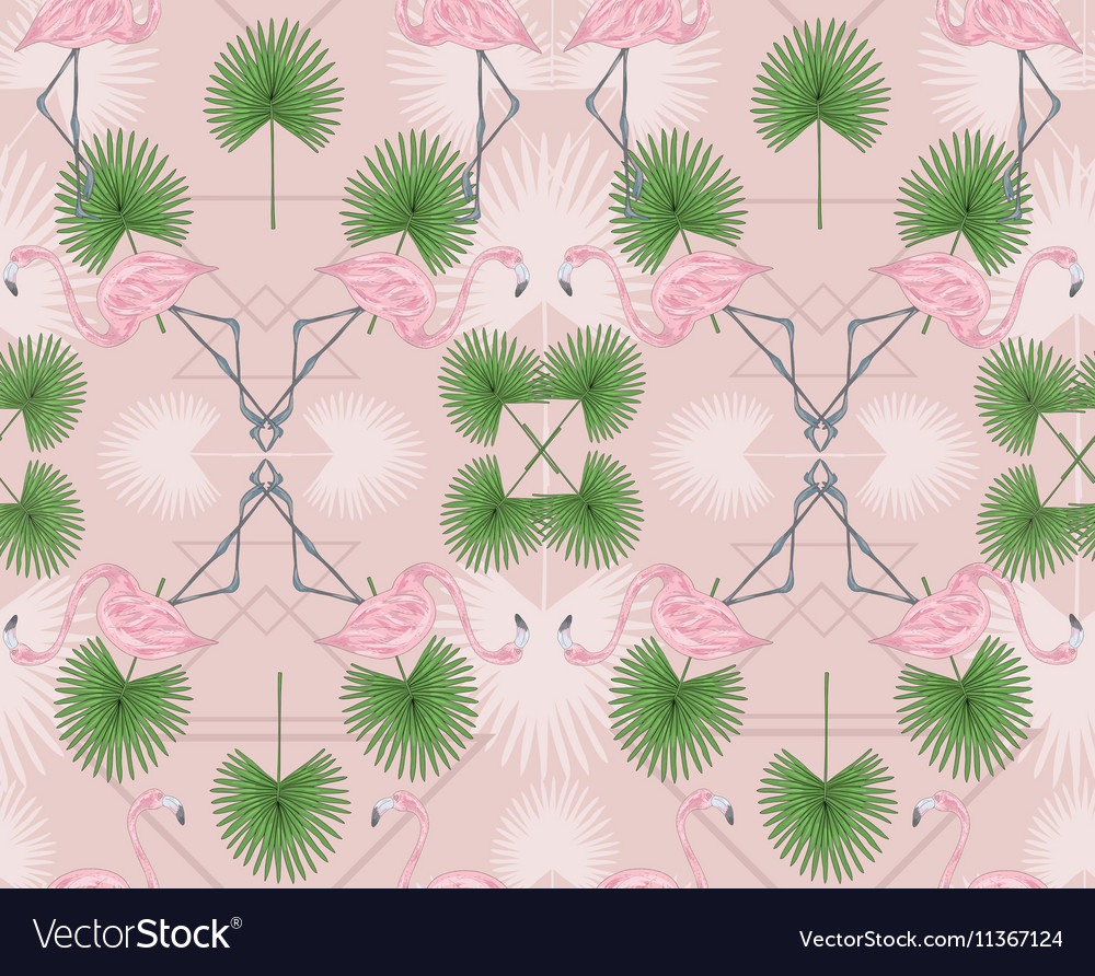 Cute hipster seamless pattern with flamingos