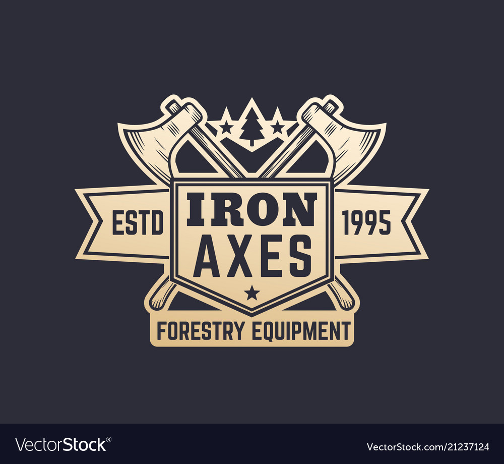 Forestry equipment vintage logo emblem with axes
