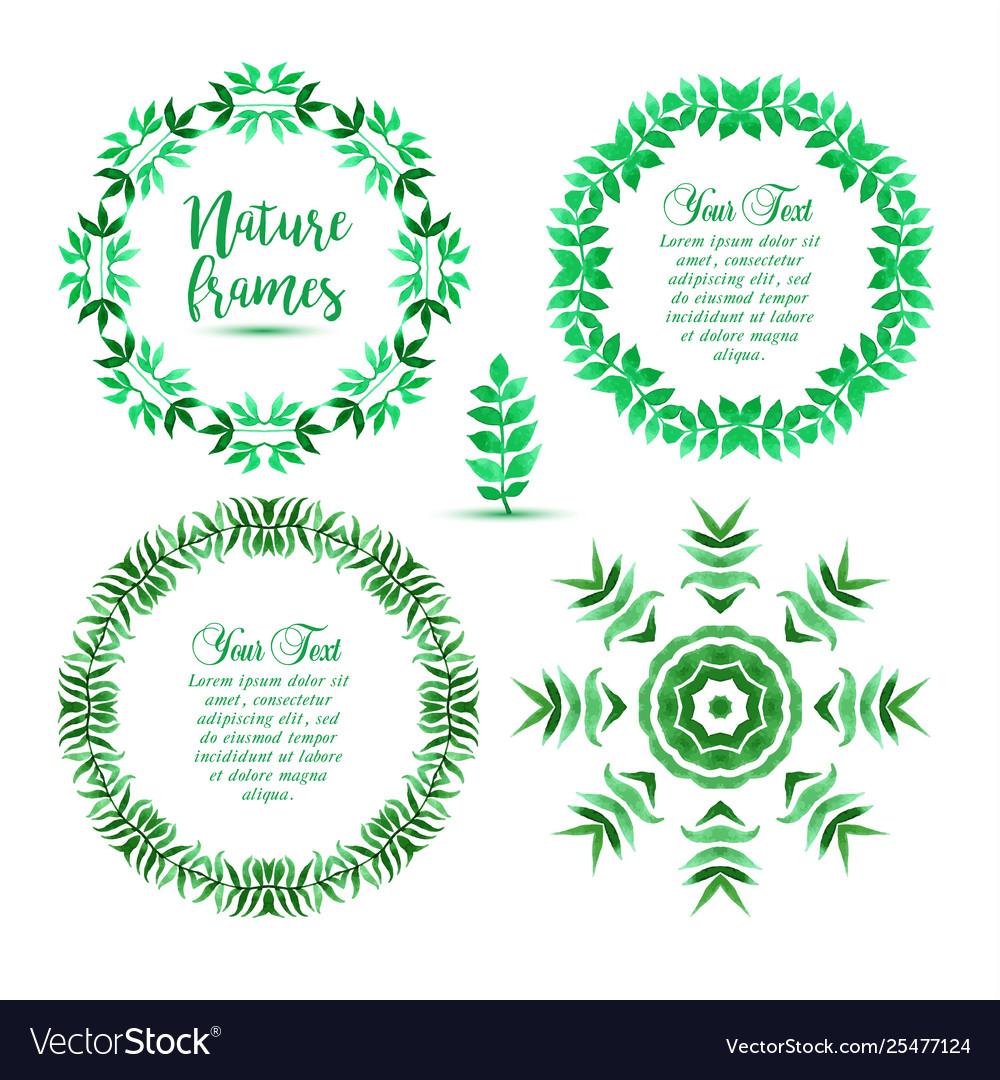 Hand drawn set green eco organic vegan