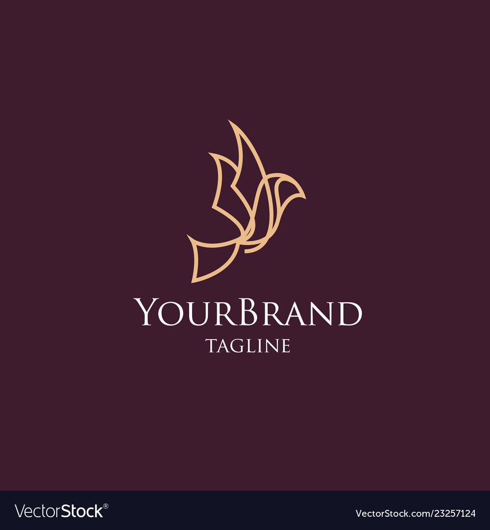 Luxury bird mono line logo template