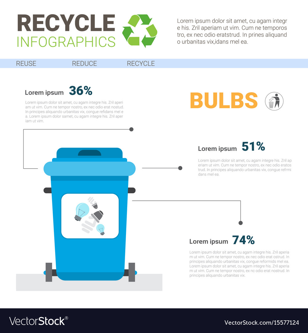 Rubbish container for bulbs waste infographic vector image