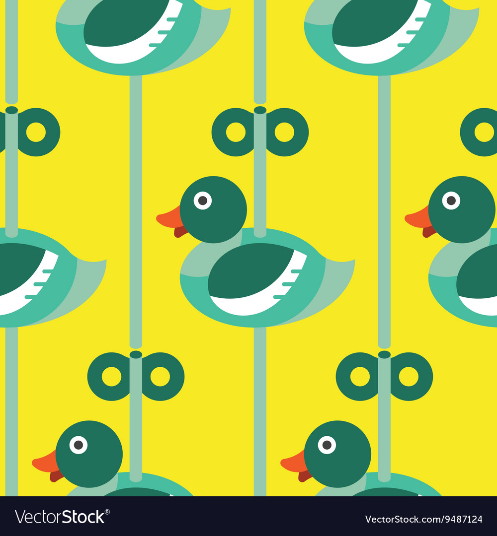 Seamless Duck with wind up pattern icon