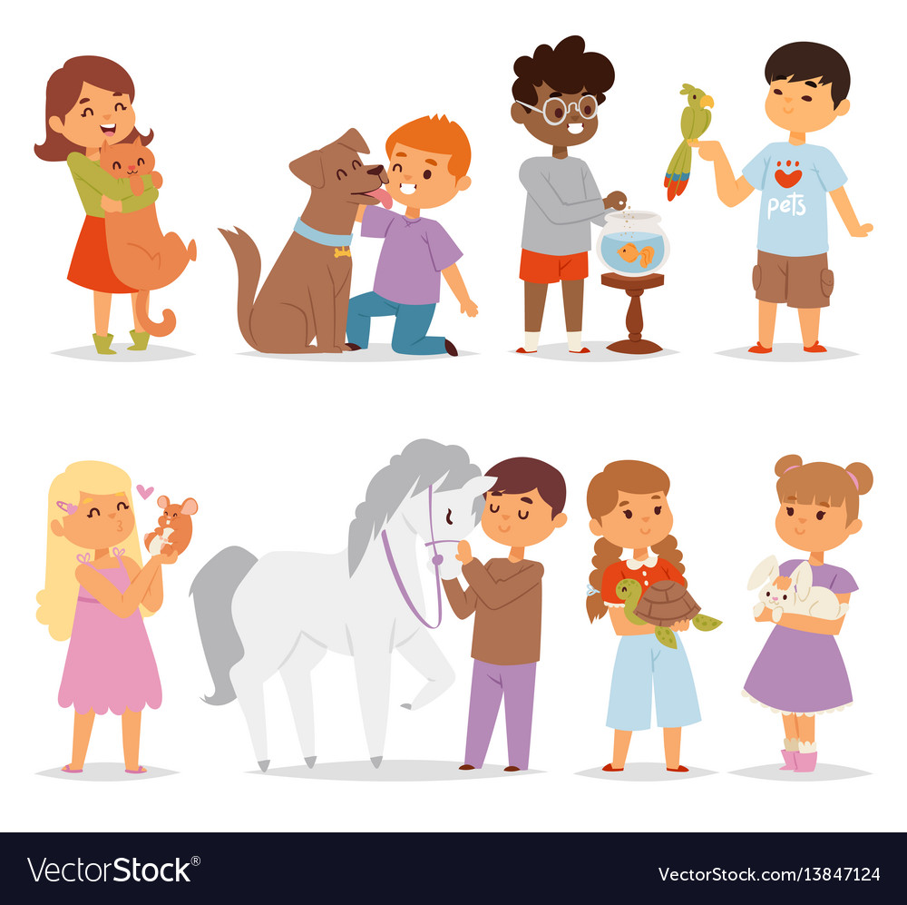 Toddler Cartoon Kids Characters Petting Little Pet - Toddler-cartoon-characters