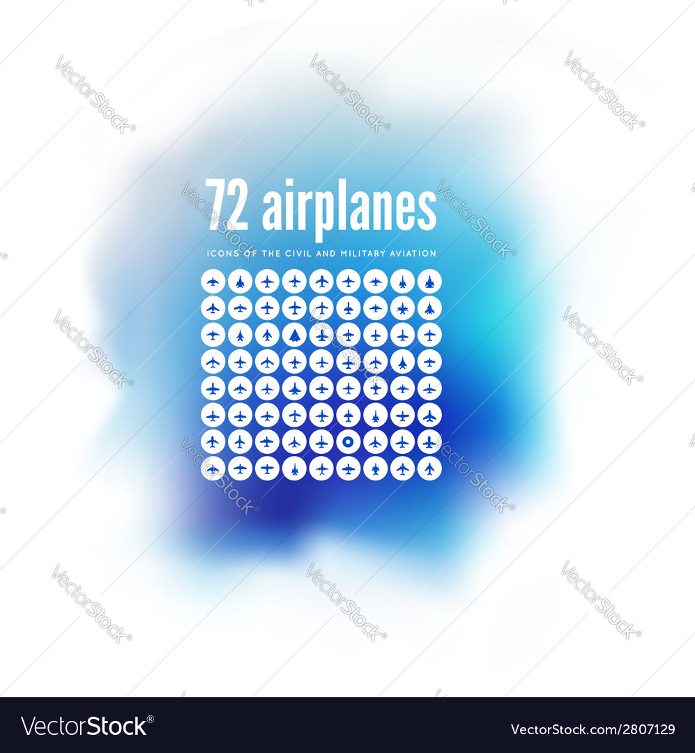 72 icons of airplanes