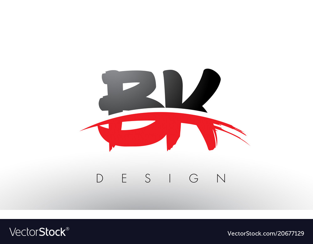 Bk B K Brush Logo Letters With Red And Black