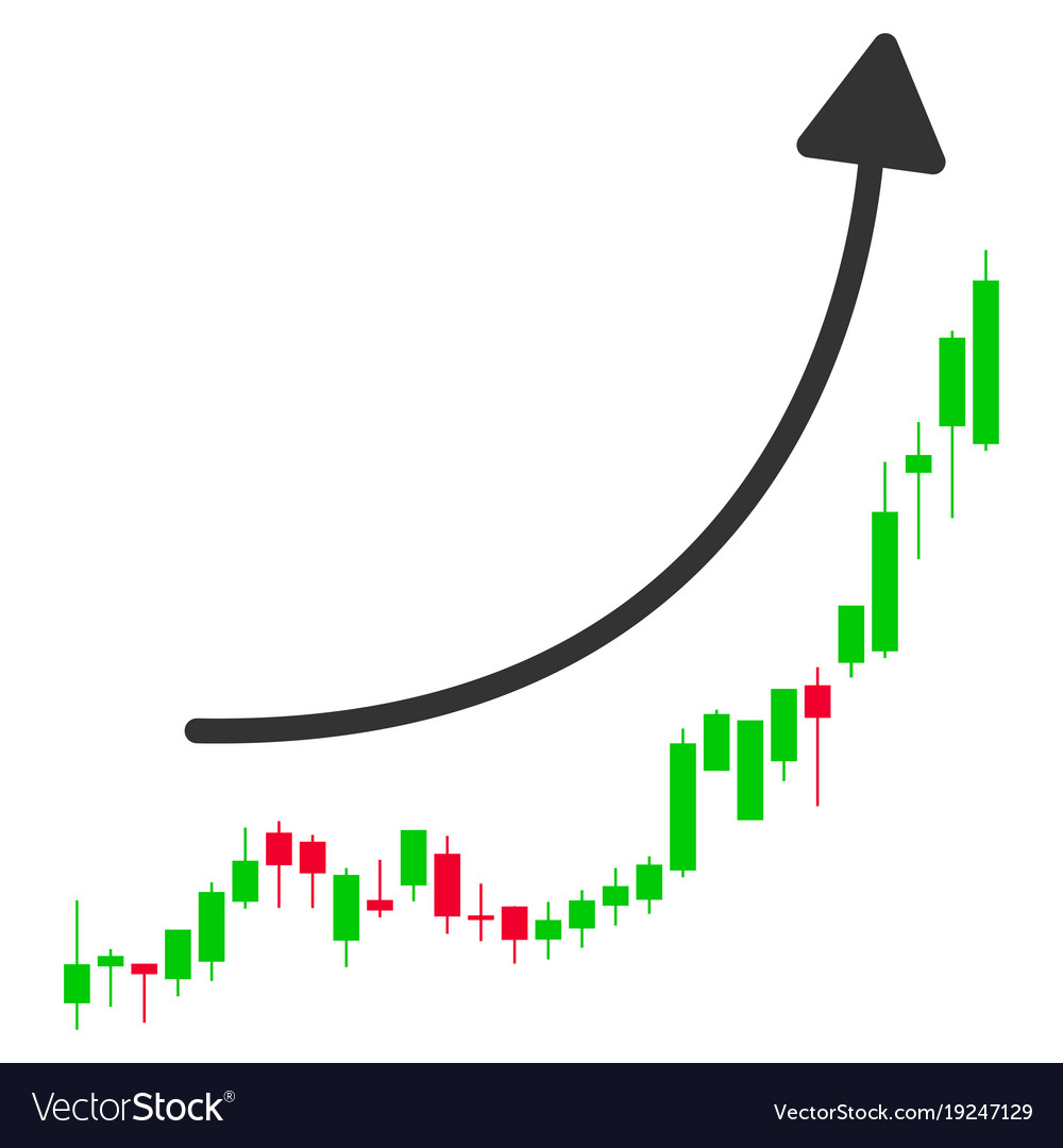 Candlestick chart growth trend flat icon
