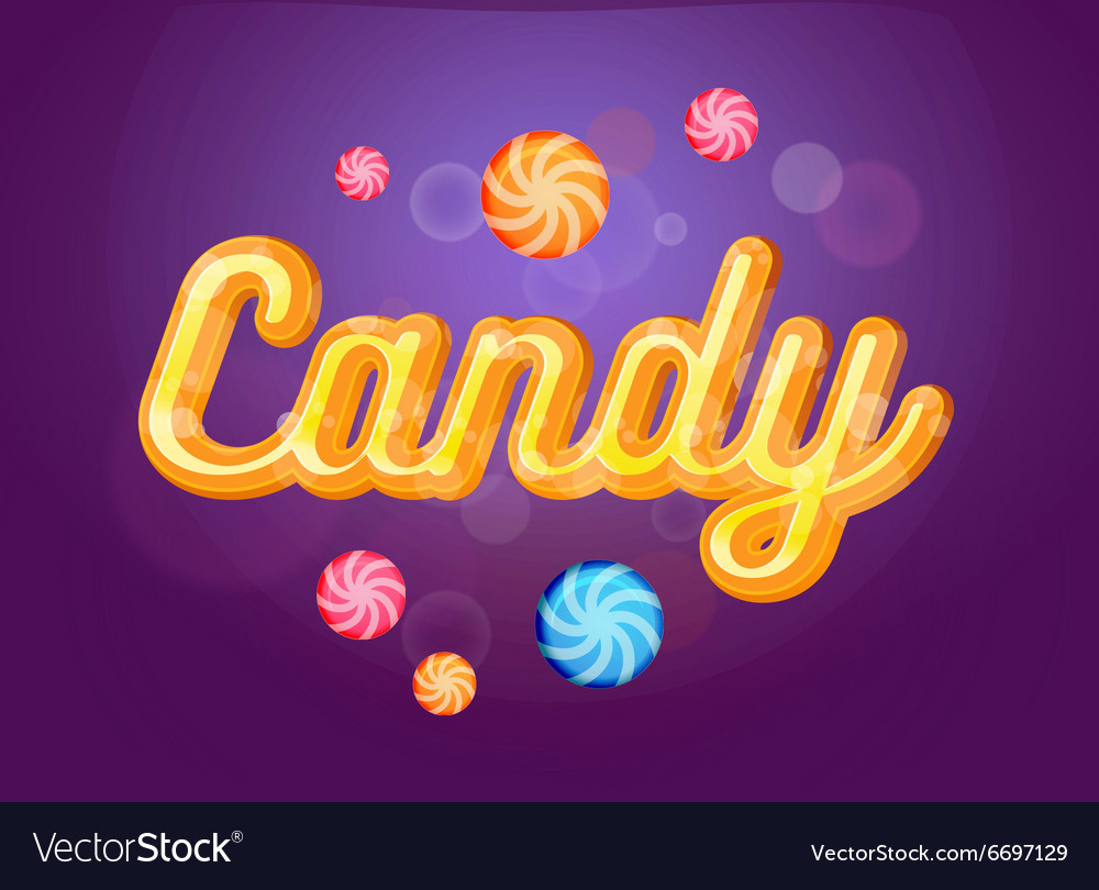 Cute candy font and sweets on the violet