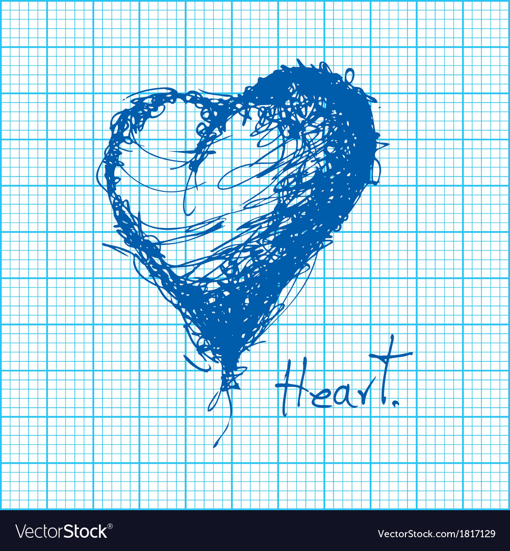drawing of heart on graph paper royalty free vector image
