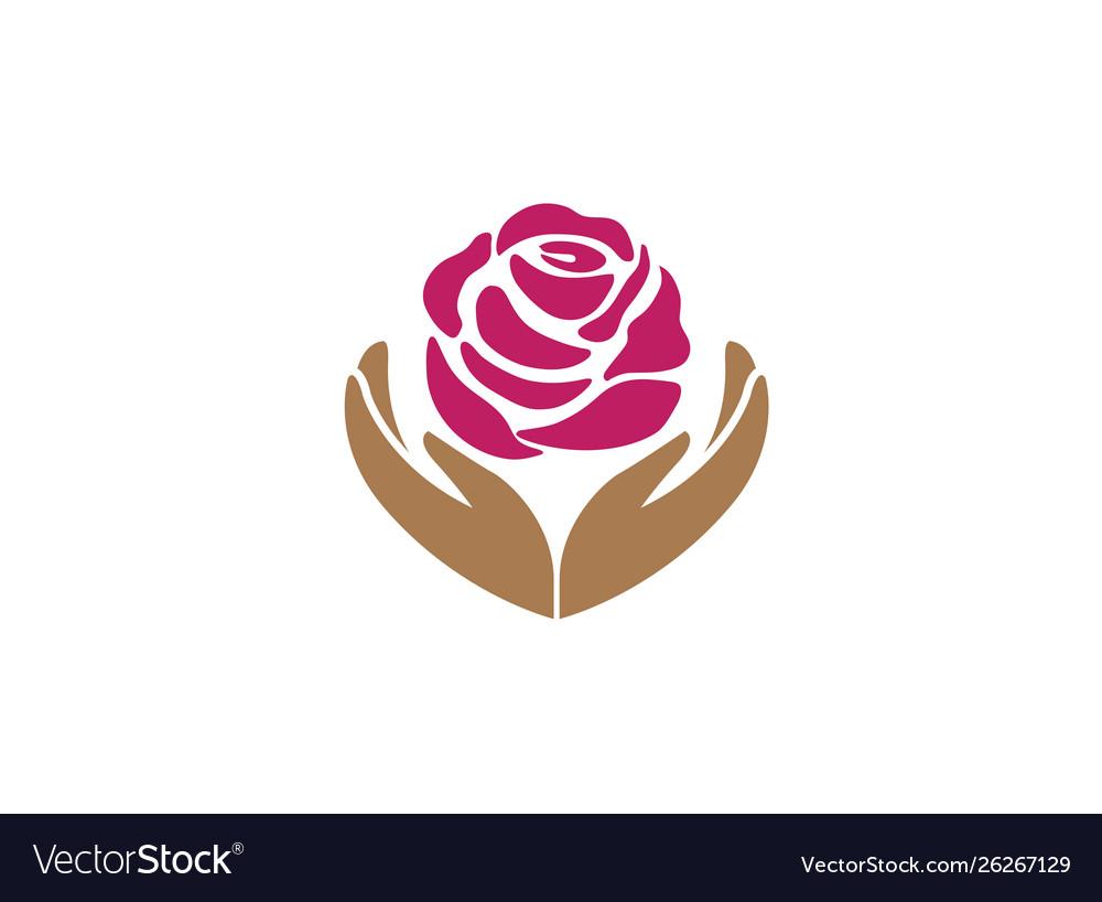 Hands holding rose for logo design