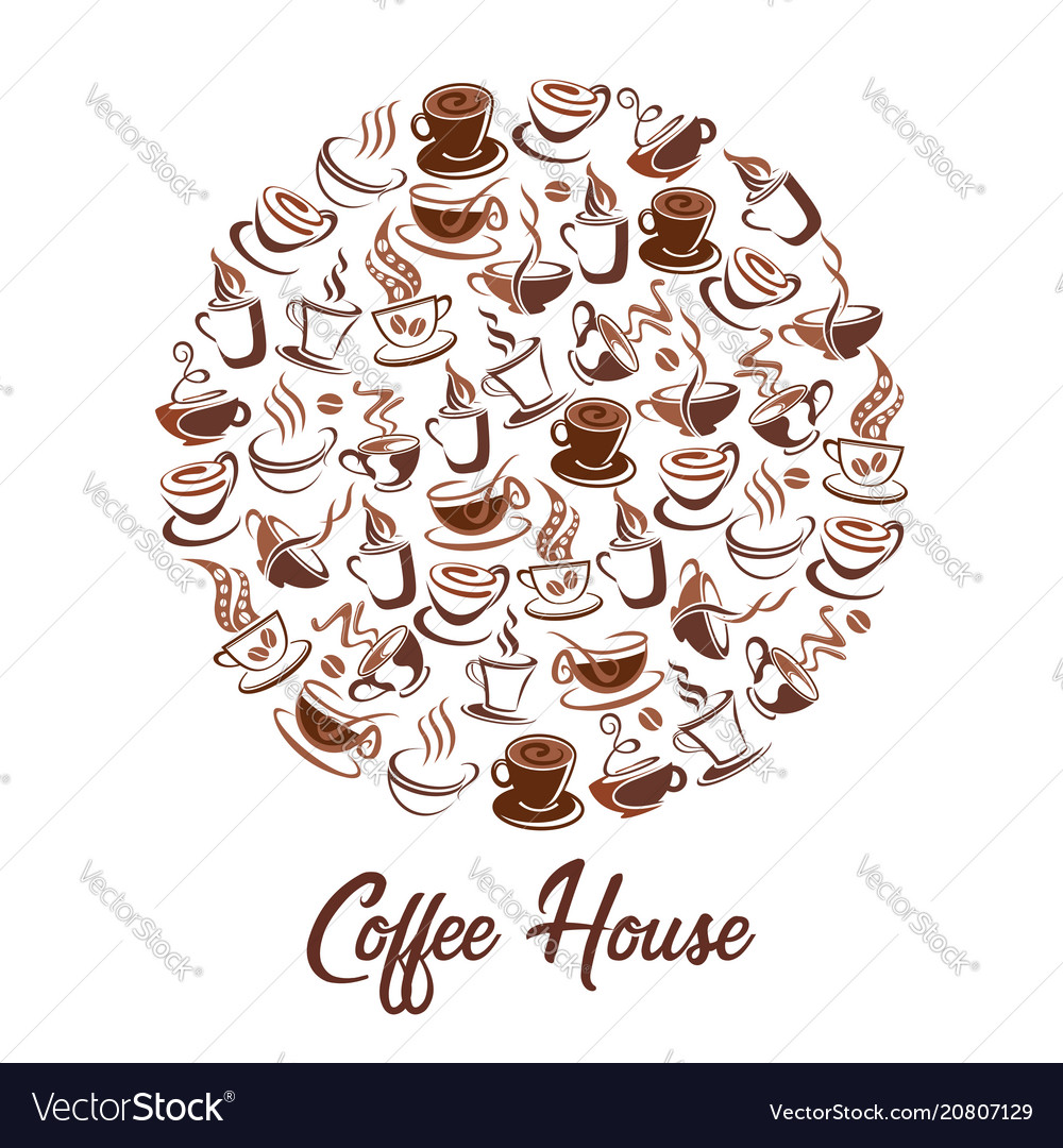 Hot coffee steam cups cafe poster of icons