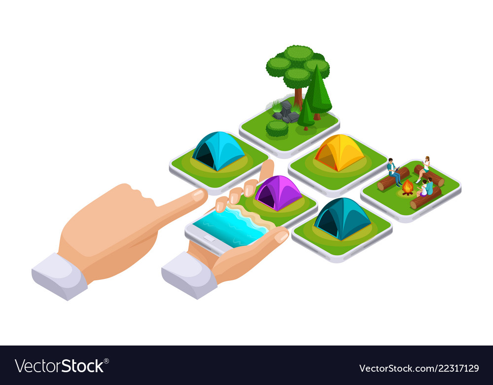 Isometric concept online shopping using a smartpho