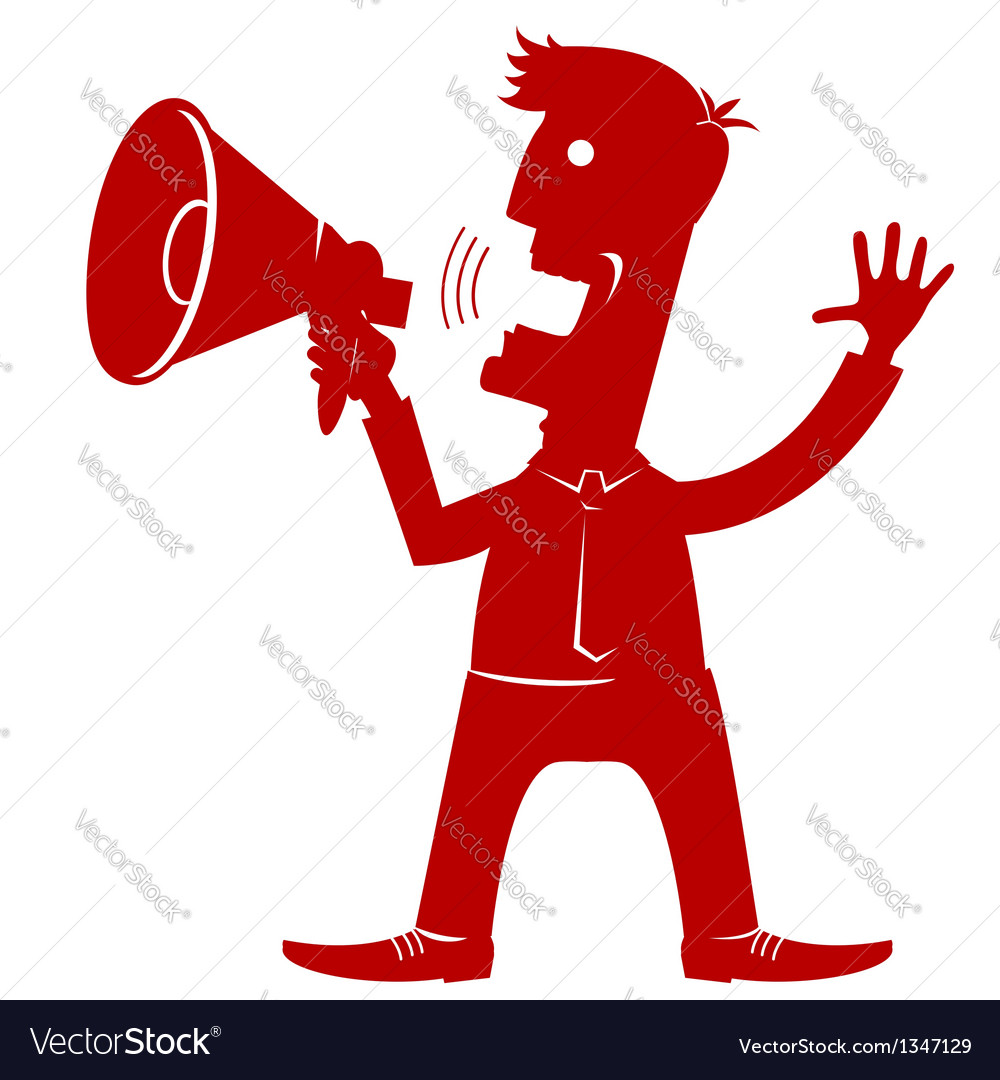 MAn in office clothes with loudspeaker vector image