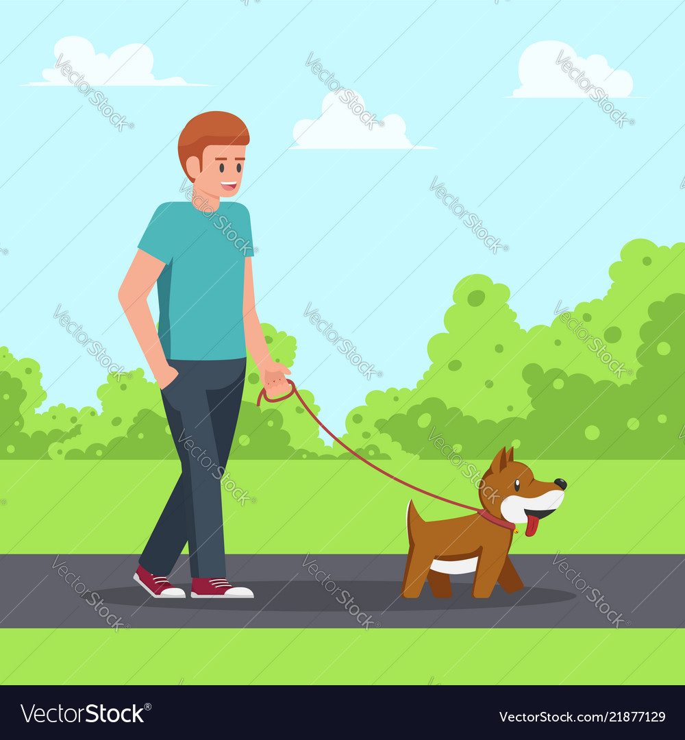 Man walking with his dog in garden