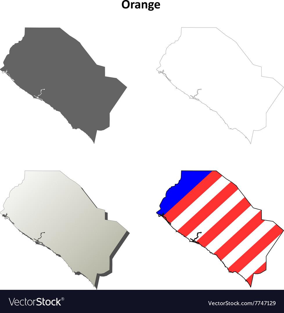 Orange County California outline map set