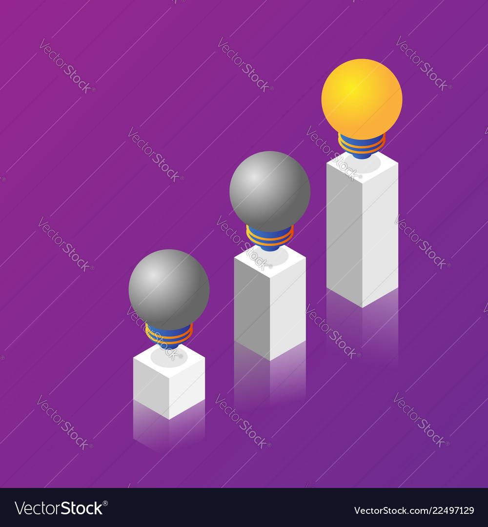 Pillars of light bulb idea isometric