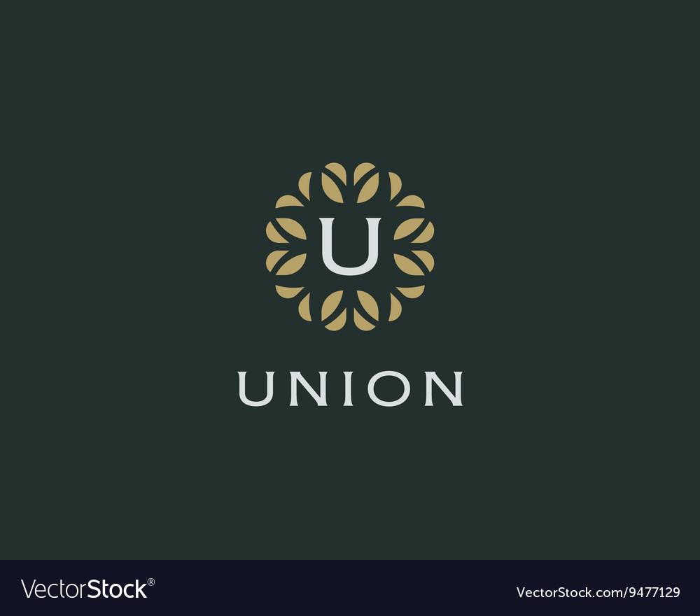 Premium monogram letter U initials logo Universal vector image