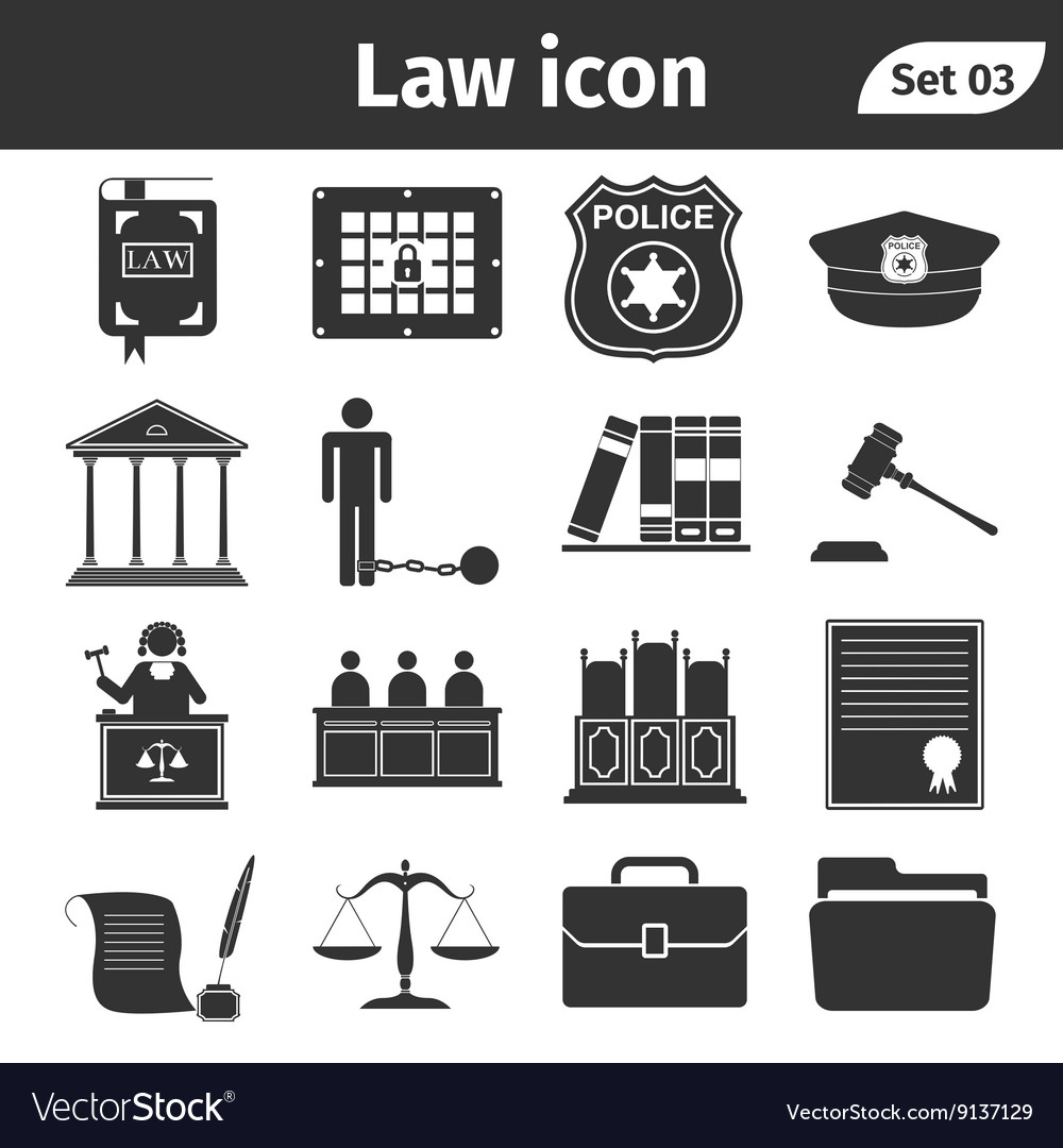 Simple set of Law and Justice related icons set