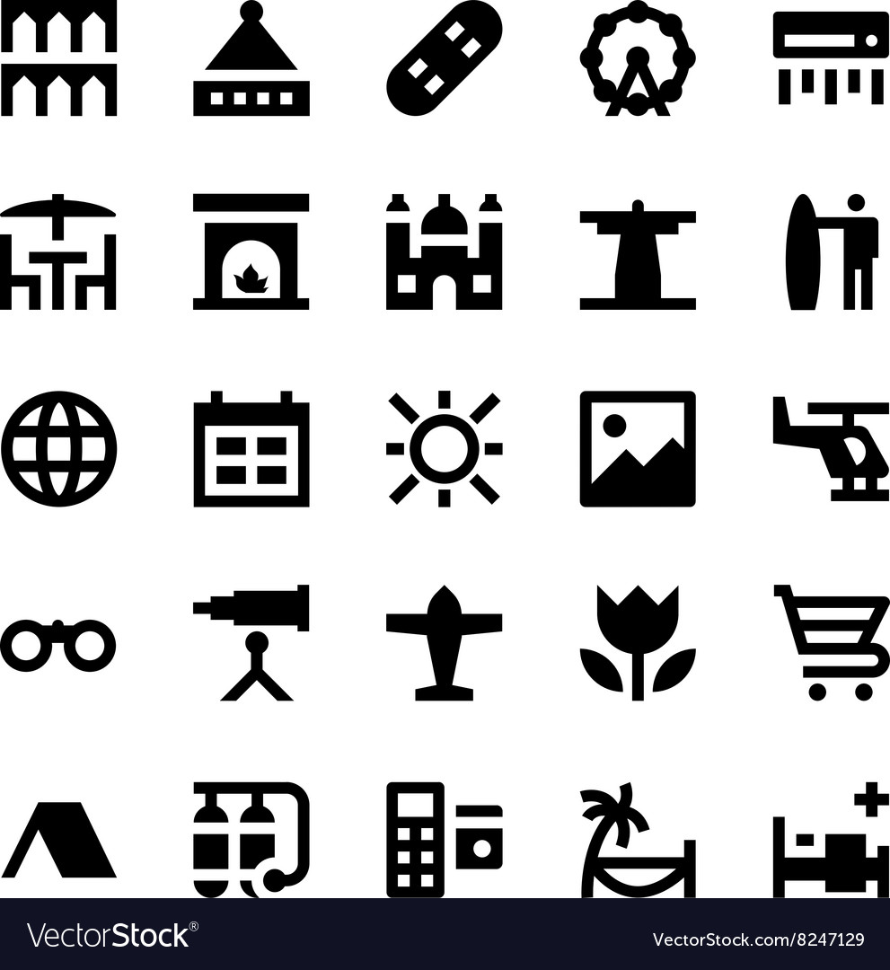 Tourism and Travel Icons 12 vector image