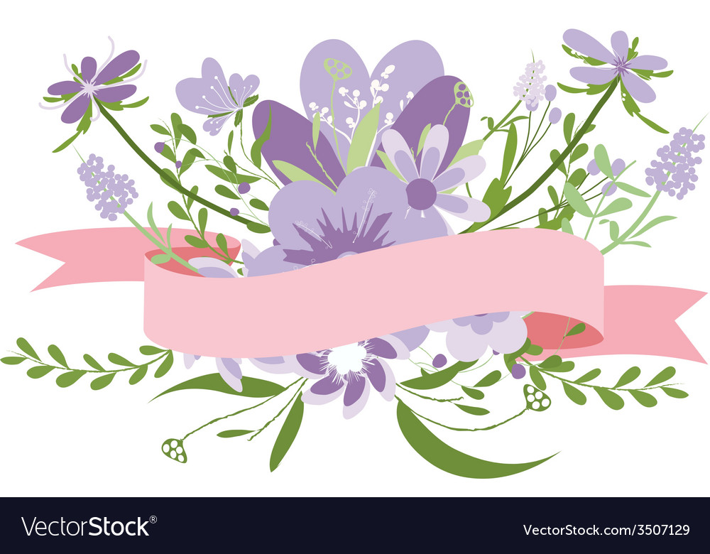 Vintage purple flowers Cute floral bouquet Vector Image